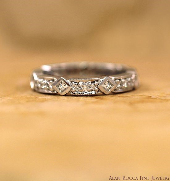 Antique Inspired Princess and Round Cut Diamond Eternity Band