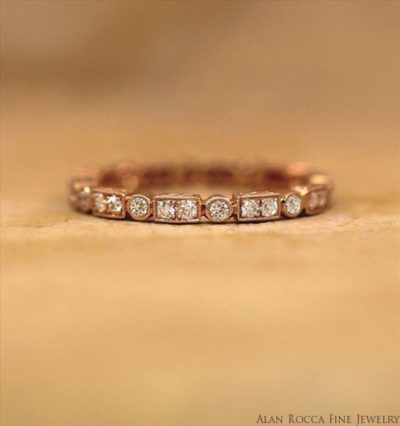 Antique Inspired Round Cut Diamond Eternity Band
