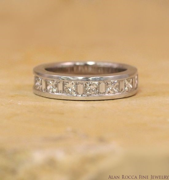Princess Cut and Baguette Diamond Wedding Band