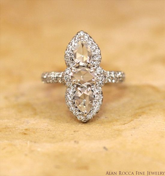 Rose Cut Diamond Ring with Pave Set Round Diamonds