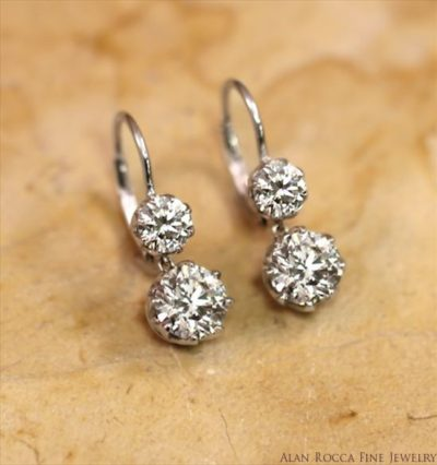 Brilliant Cut Diamond Drop Leverback Earrings