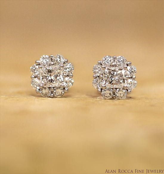 Princess Cut Diamond Post Earrings Surrounded by Round Diamonds