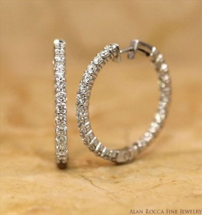 Prong Set Diamond Hoop Earrings