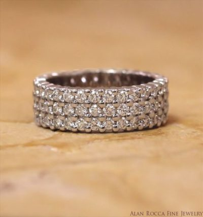 Three Row Prong Set Round Cut Diamond Eternity Band