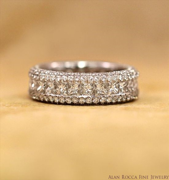 Princess Cut Diamond Eternity Band with Domed Pave Sidewalls