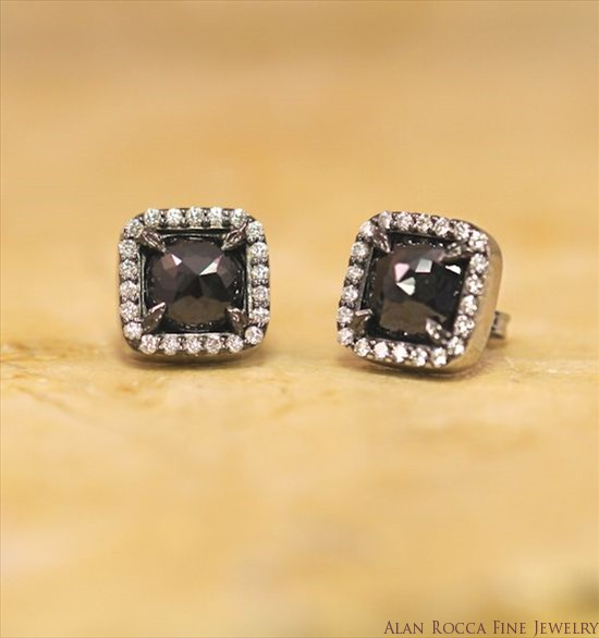 Faceted Black Diamond Post Earrings Surrounded by Prong Set Round Diamonds