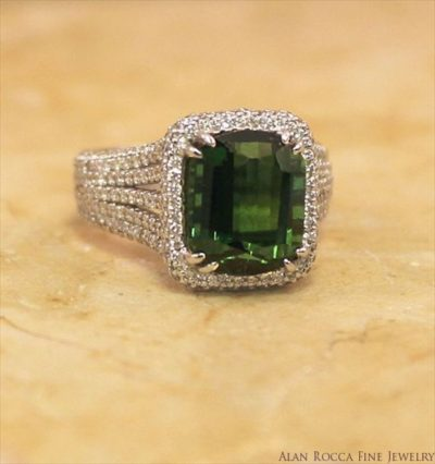 Cushion Shaped Green Tourmaline with Pave Setting
