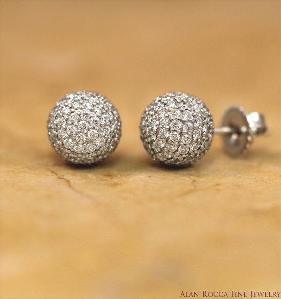 Pave Set Diamond Post Earrings