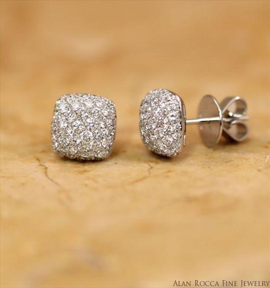 Cushion Shaped Pave Diamond Post Earrings