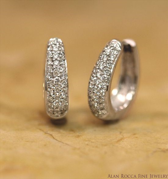 Pave Set Diamond Hoop Earrings