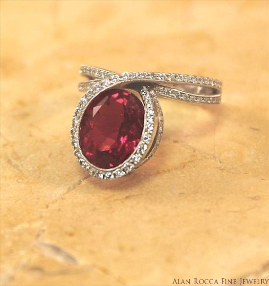Offset Cocktail Ring with Oval Faceted Pink Tourmaline with Bead Set Round Diamonds