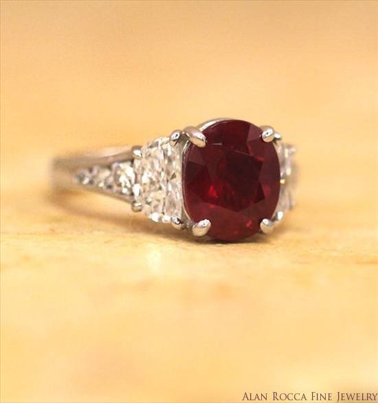 Oval Shaped Burmese Ruby Classic Cocktail Ring with Half-Moon and Round Cut Diamonds