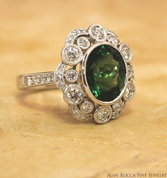 Antique Inspired Cocktail Ring with Oval Green Tourmaline Surrounded by Graduated Bead and Bezel Set Round Diamonds