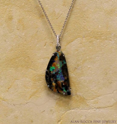 Boulder Opal Pendant with Diamond Bail