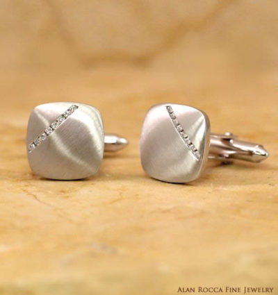 Cushion Shaped Brushed Cufflinks with Channel Set Round Diamonds