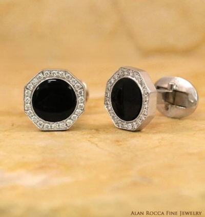 Diamond Cufflinks with Bezel Set Round Onyx