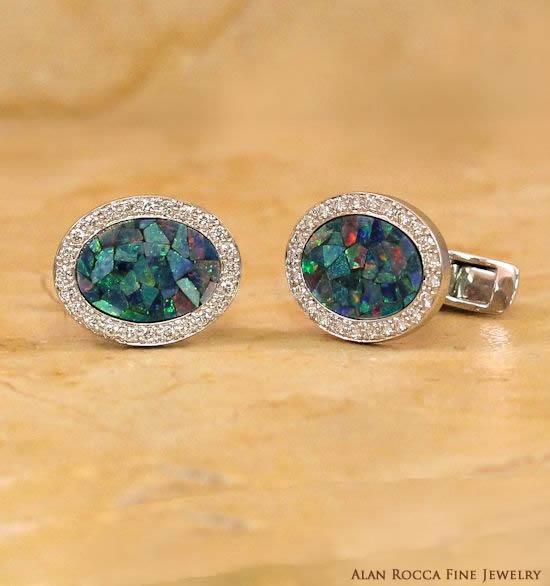 Mosaic Opal Cufflinks with Bead Set Diamond Border