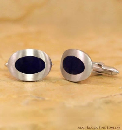 Oval Shaped Brushed Cufflinks with Inlayed Onyx