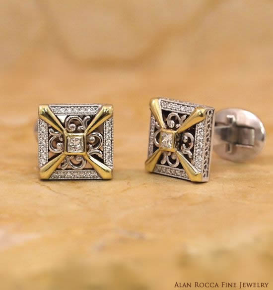 Antique Inspired Two-Tone Diamond Cufflinks
