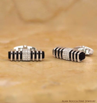 Elongated Onyx and Diamond Cufflinks
