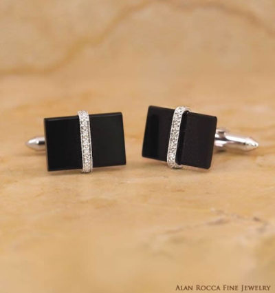 Rectangular Onyx Cufflinks with Bead Set Round Diamonds