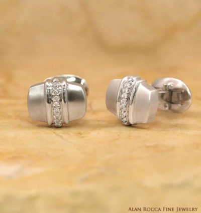 Dual Finish Cufflinks with Bead Set Round Diamonds