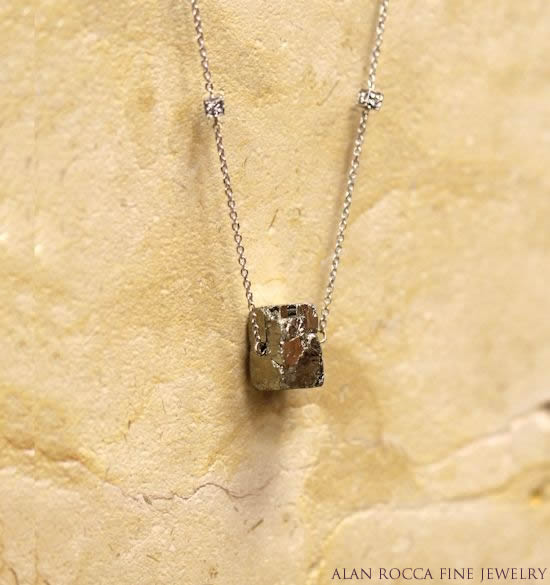 Pyrite and Diamond Five Year Anniversary Necklace