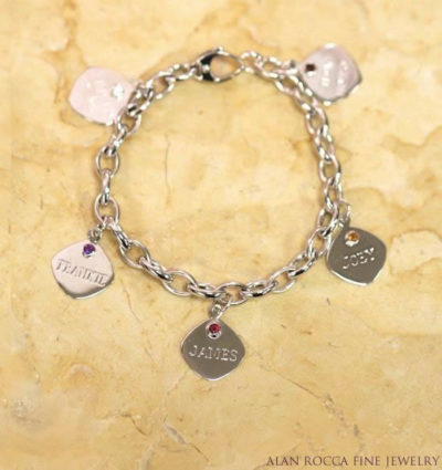 Bracelet with Hand Engraved Charms and Birthstone Accents