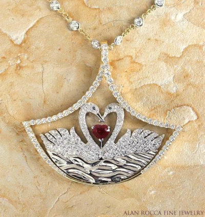 Diamond Swan Pendant with Heart Shaped Ruby and Diamond Station Necklace