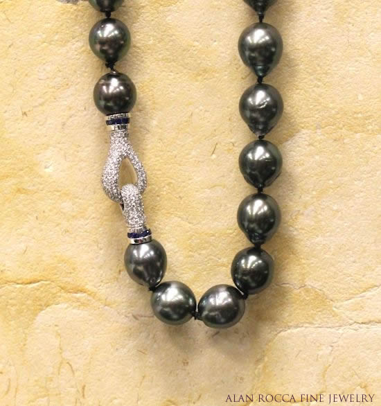 Tahitian Pearl Necklace with Pave Set Diamond and Sapphire Clasp