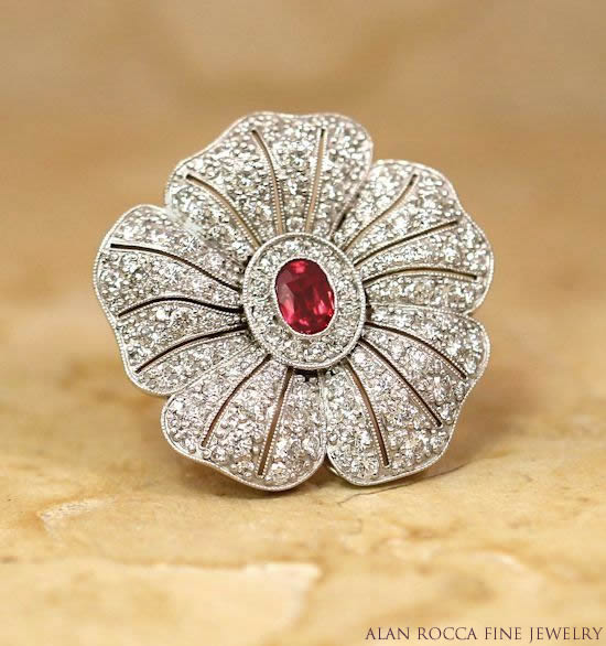 Flower Inspired Bead Set Diamond Ring with Bezel Set Ruby