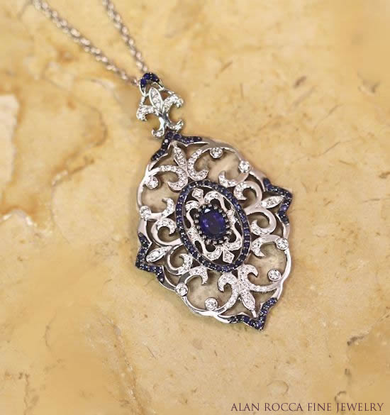 Antique Inspired Pendant with Bead Set Diamonds and Blue Sapphires