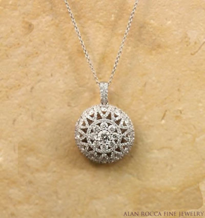 Domed Cut-Out Pendant Prong Set with Round Diamonds