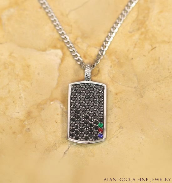 Black Diamond Dog Tag with Birthstone Accents