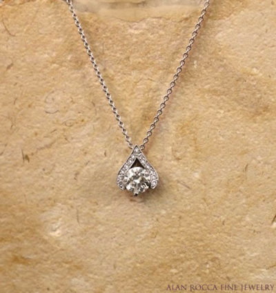 Brilliant Diamond Pendant with Bead Set Round Diamonds