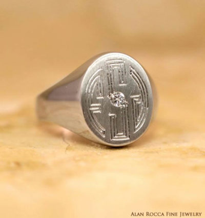 Oval Shaped Hand Engraved Signet Ring with Burnish Set Diamond