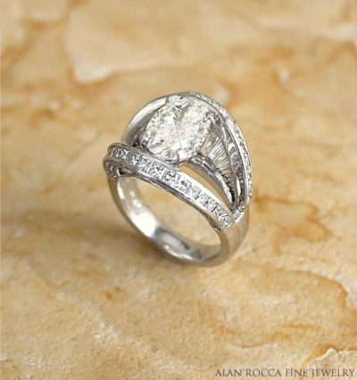 Split Shank Oval Diamond Ring with Baguette and Princess Cut Diamonds