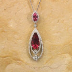 Rubellite and Tourmaline Diamond Nesting Pendant