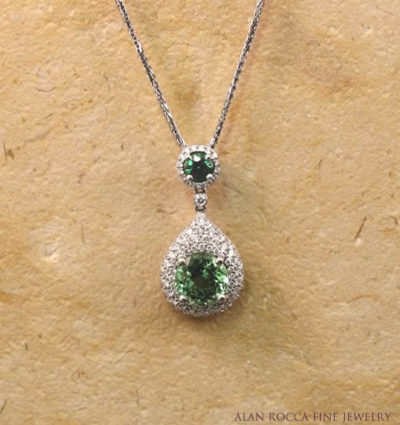 Tourmaline and Tsavorite Pave Set Diamond Drop Pendant
