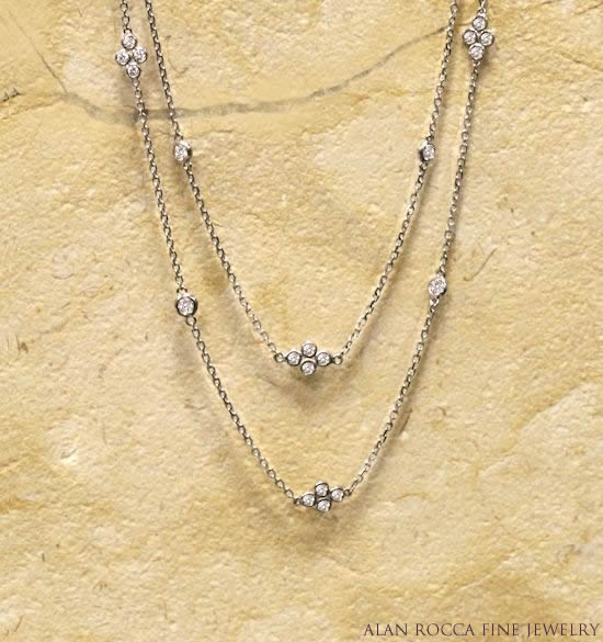 Clover Link Station Necklace with Bezel Set Diamonds
