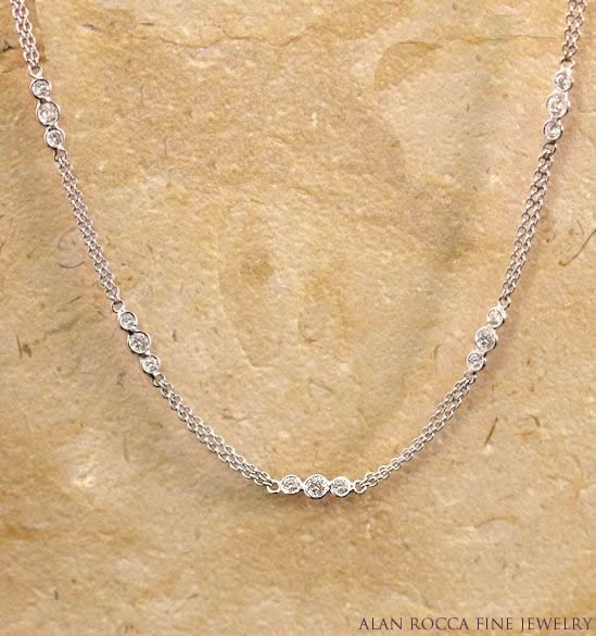 Trinity Link Station Necklace with Bezel Set Round Diamonds