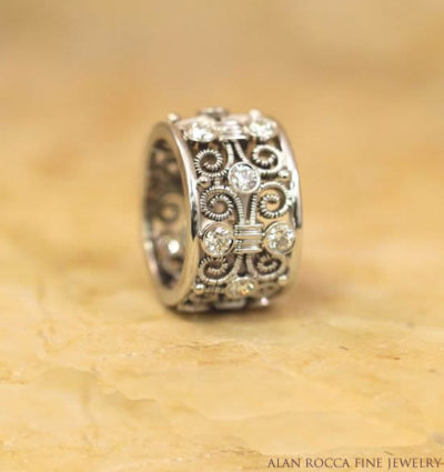 Hand-Crafted Twisted Wire Ring with Bezel Set Diamonds