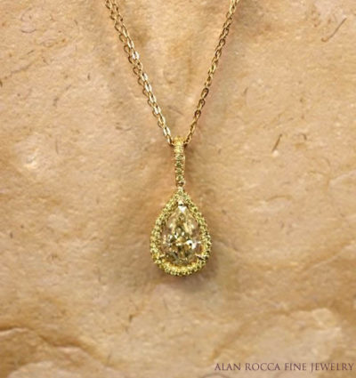 Fancy Intense Yellow Pear Shaped Diamond Necklace