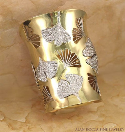 Form-Fitted Diamond Cuff with Ginkgo Leaf Designs