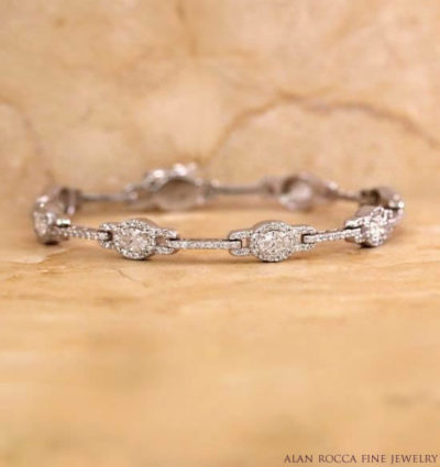 Oval Diamond Link Bracelet with Bead Set Bars