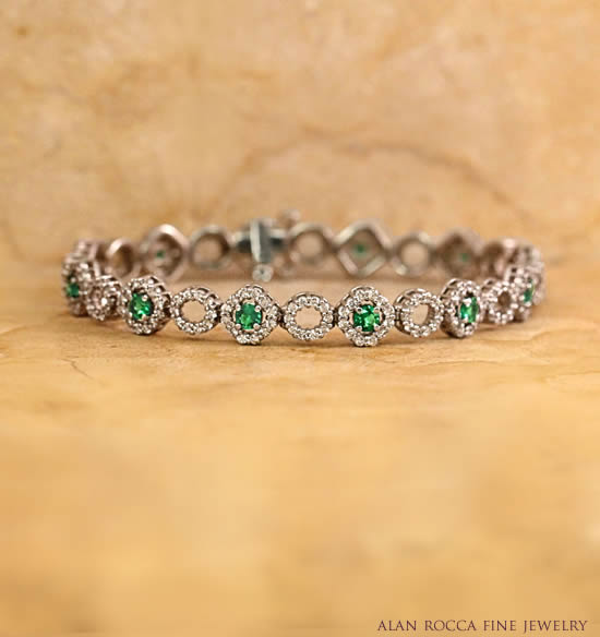 Prong Set Emerald and Diamond Bracelet