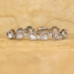 Oval Moonstone Bracelet with Prong and Bezel Set Round Diamonds