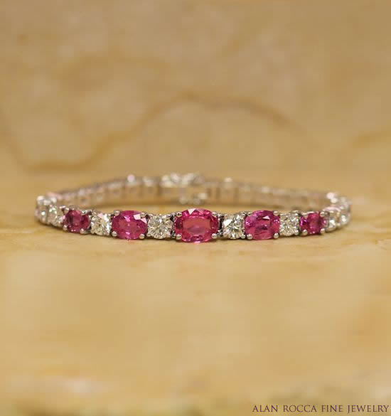 Pink Sapphire and Diamond Eternity Bracelet