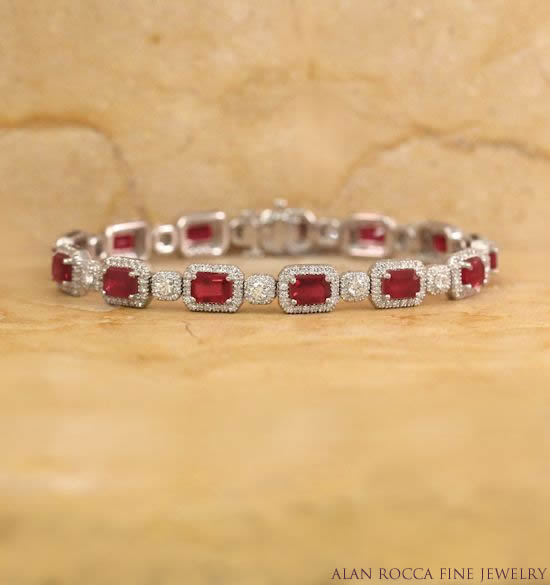 Fancy Link Bracelet with Prong Set Rubies and Diamonds