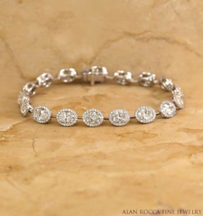 Oval Diamond Eternity Bracelet with Prong Set Diamond Halos